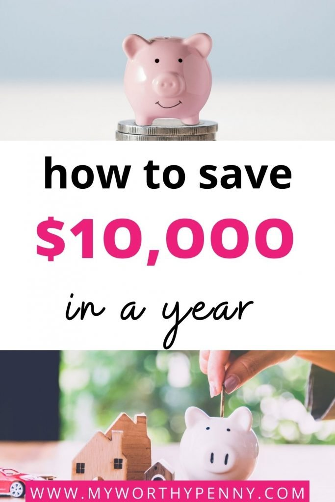 Want to save $10,000 and learn how to achieve this in just 52 weeks? I am sharing how to start saving money in just a year. You will learn how to budget, make extra money, and use interest rates to build up your savings account. Learn how to achieve your financial goals the easy way. This post is perfect for those who are looking to save money for their emergency fund and also for those who want to boost their savings goal. This is going to help you curb your spending and also start making money per month. how to save $10K  how to save 10000 in a year chart #save